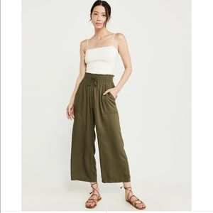 Abercrombie Olive Cropped Wide Leg Pants